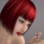 140012 - daz giant giantess girl hair poser red shrunken_men shrunken_women tiny woman