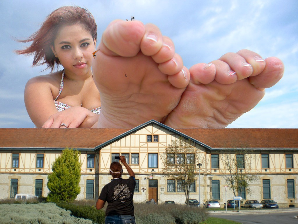 154726 - barefoot brown_eyes building collage falling giantess looking_at_viewer man micro on_toe sitting sky