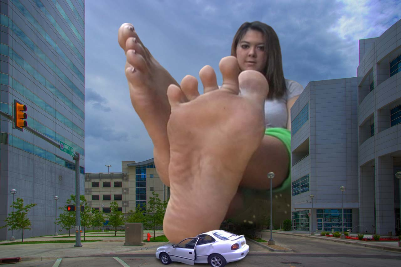 155251 - asian barefoot buildings city clouds collage crushed_car giantess looking_at_viewer sitting sky soles