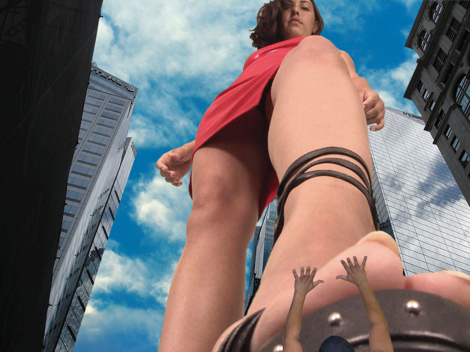 155522 - clouds giantess imminent_crush looking_at_victim looking_down point_of_view sky skyscrapers small_man underfoot upward_angle