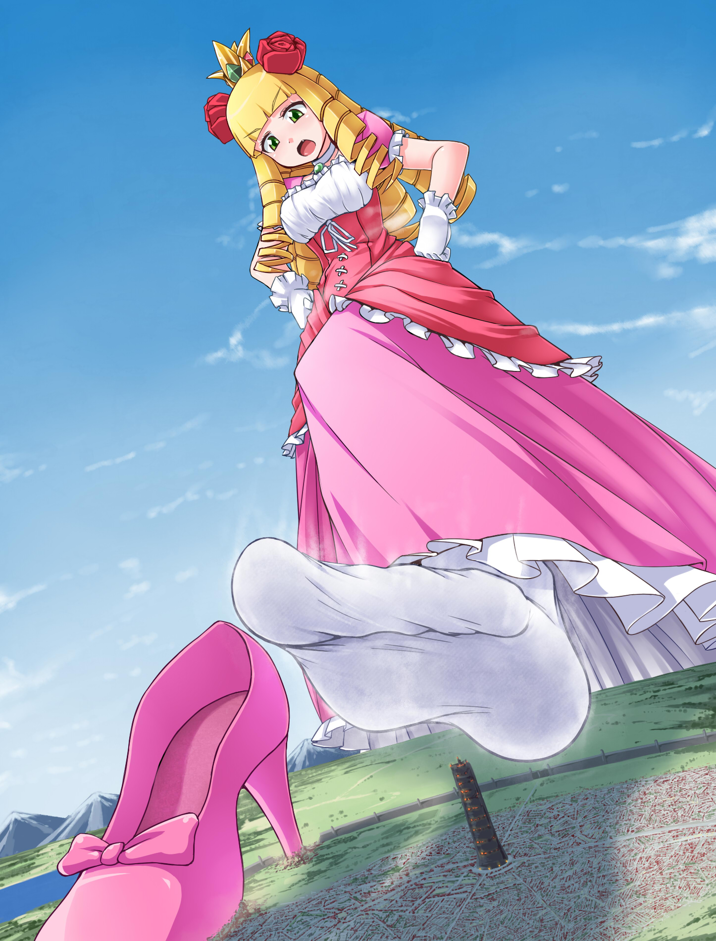 155935 - blonde city city_destruction color cruel destruction drawing dress feet foot_crush giantess gloves high_heels imminent_crush long_hair mega_giantess ochiko_terada princess shoes_crush socks socks_crush soles