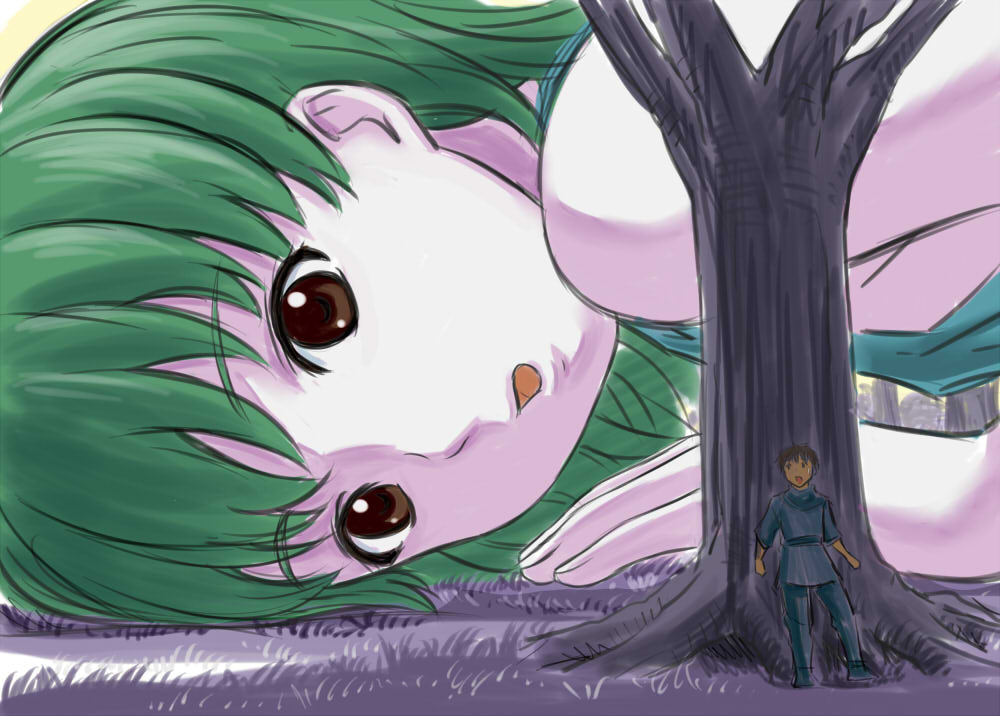 151734 - drawing giantess hands_and_knees hiding looking_at_victim manzi searching shrunken_man tree