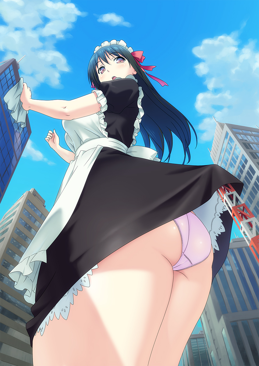 156394 - anime butt city clothed panties point_of_view sky skyscrapers upskirt upward_angle
