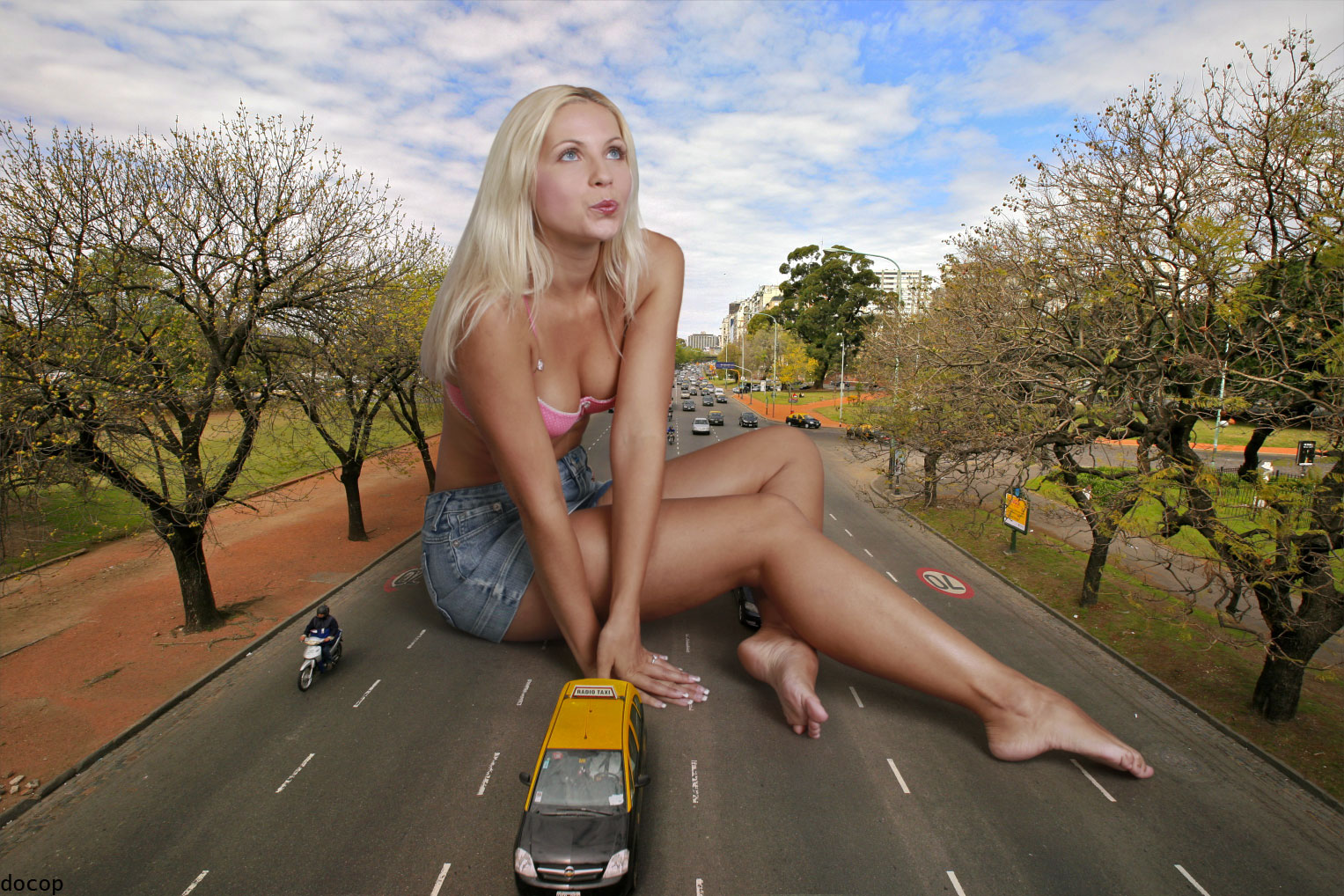 156431 - barefoot blocking_traffic blonde cars cleavage collage docop giantess jenni_czech legs sitting street