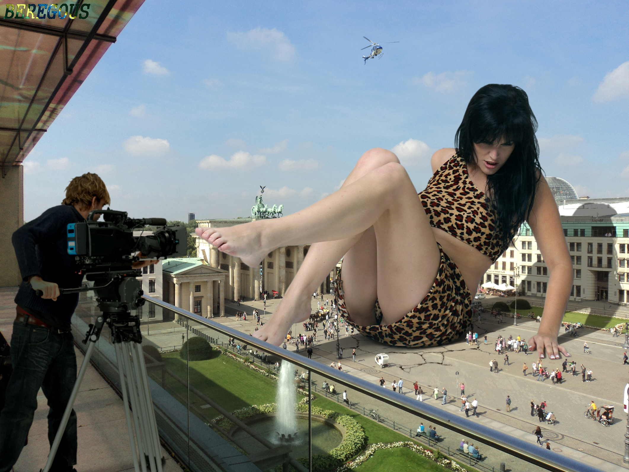 156528 - balcony barefoot beregous collage filming fountain giantess hand helicopter kerstin legs looking_down people sitting sky