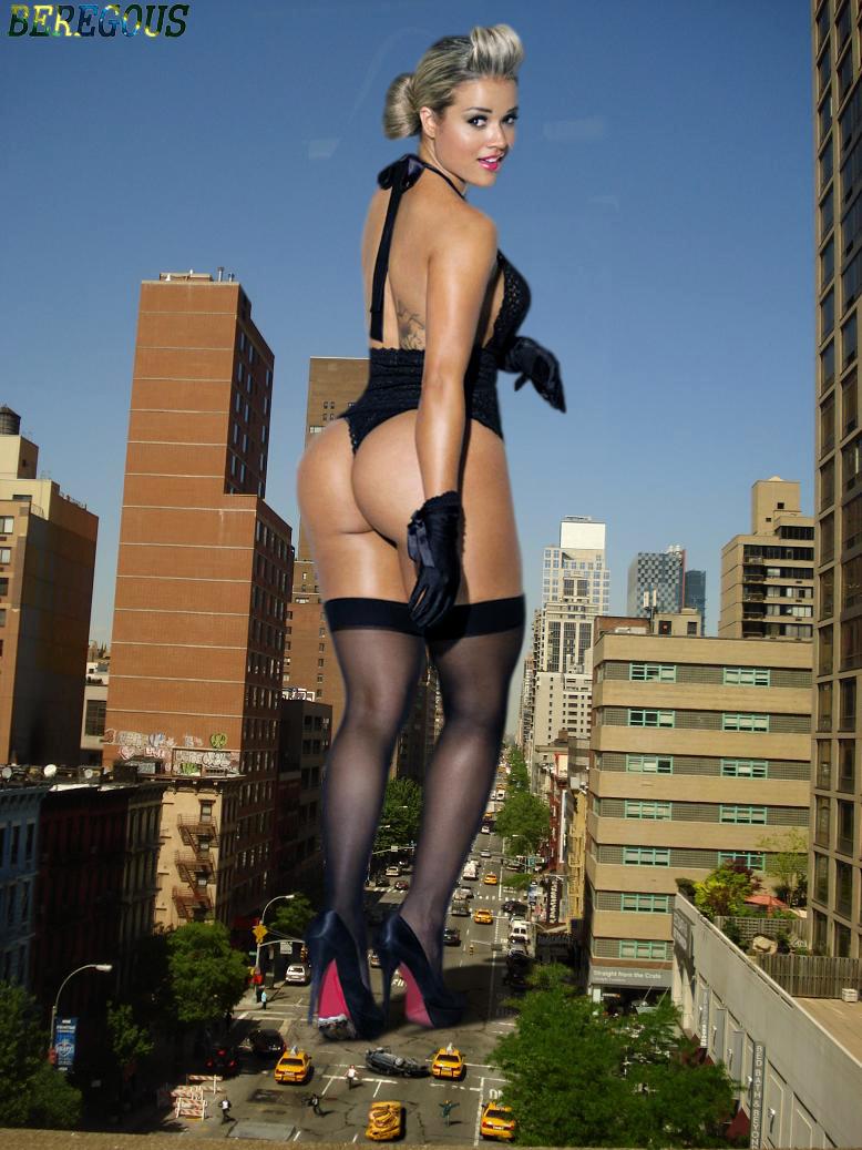156956 - aryane_steinkopf behind_view beregous blonde buildings butt city collage crushed_cars fleeing giantess gloves high_heels looking_at_viewer looking_back nylons people street