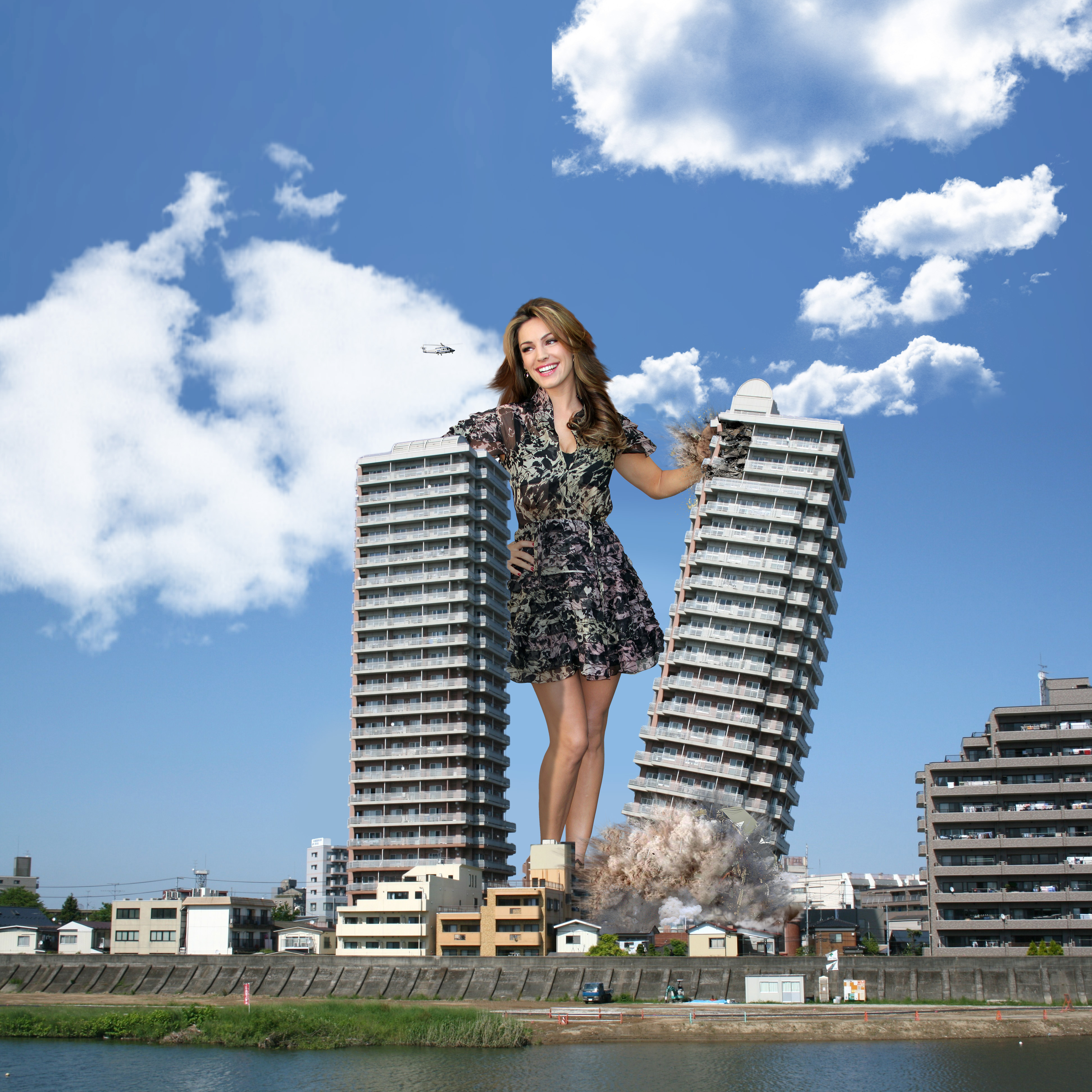 158642 - brunette buildings collage destruction dress giantess helicopter kelly_brook sky smile wonderslug