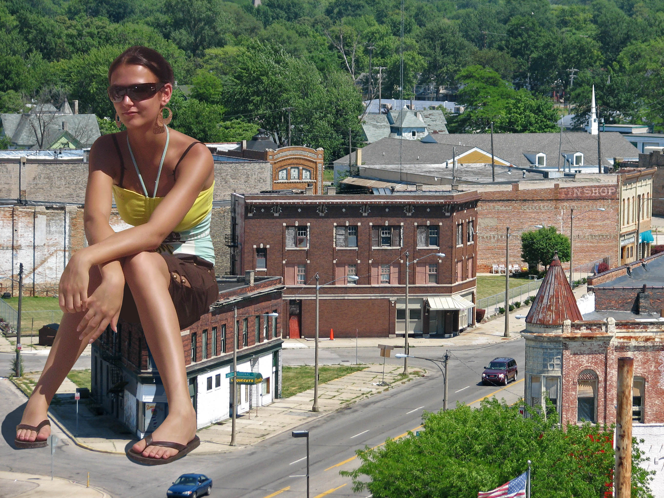 158730 - buildings collage feet flip_flops giantess looking_at_viewer sitting street sunglasses town wonderslug