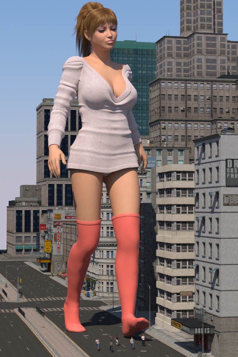 158994 - boomgts buildings city clothed giantess knee_socks poser running_away small_people street thigh_highs