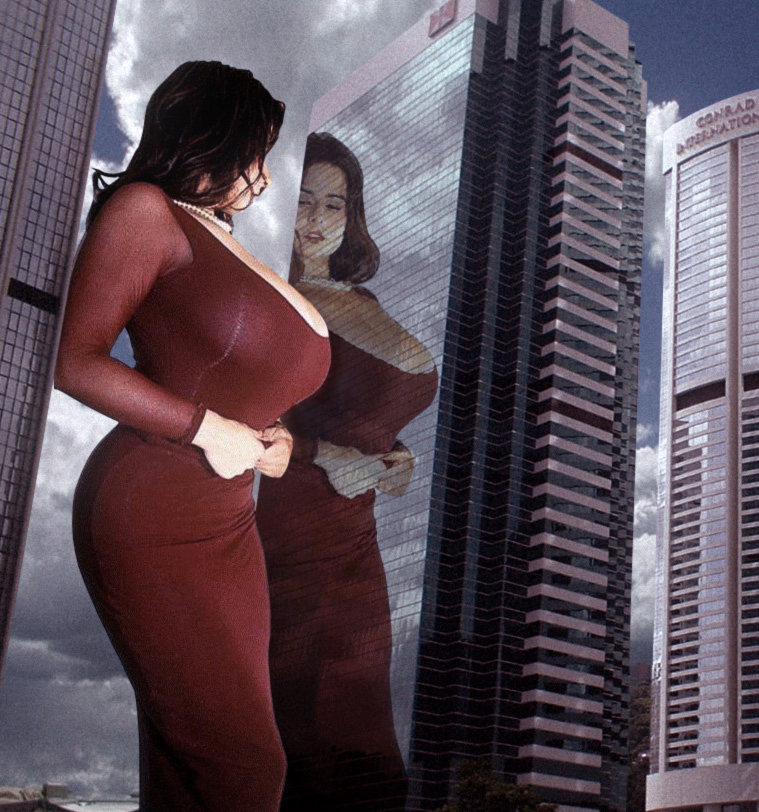 159368 - city collage giantess large_boobs reflection skyscraper upward_angle