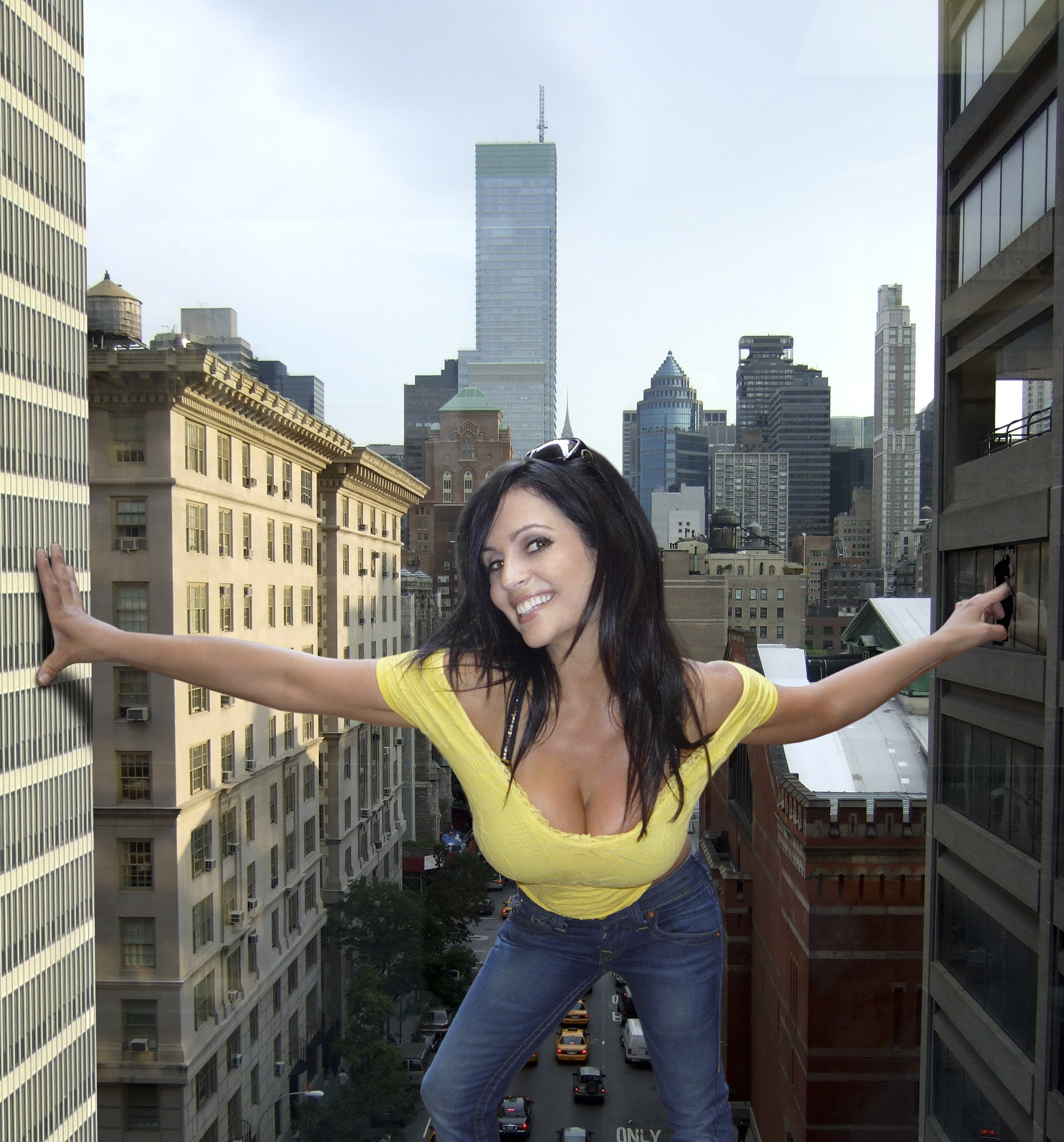160003 - between_buildings broken_window cars city cleavage clothed collage denise_milani giantess hole looking_at_viewer skyscrapers smile street wonderslug