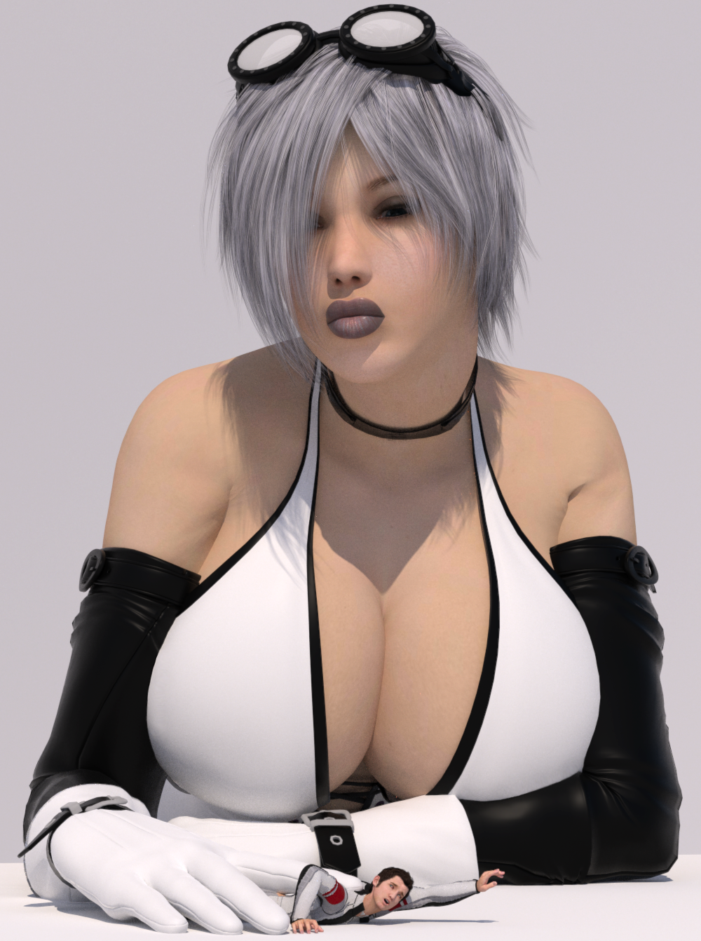 156681 - boomgts cleavage giantess gloves ivory large_boobs pinned pinned_down poser shrunken_man