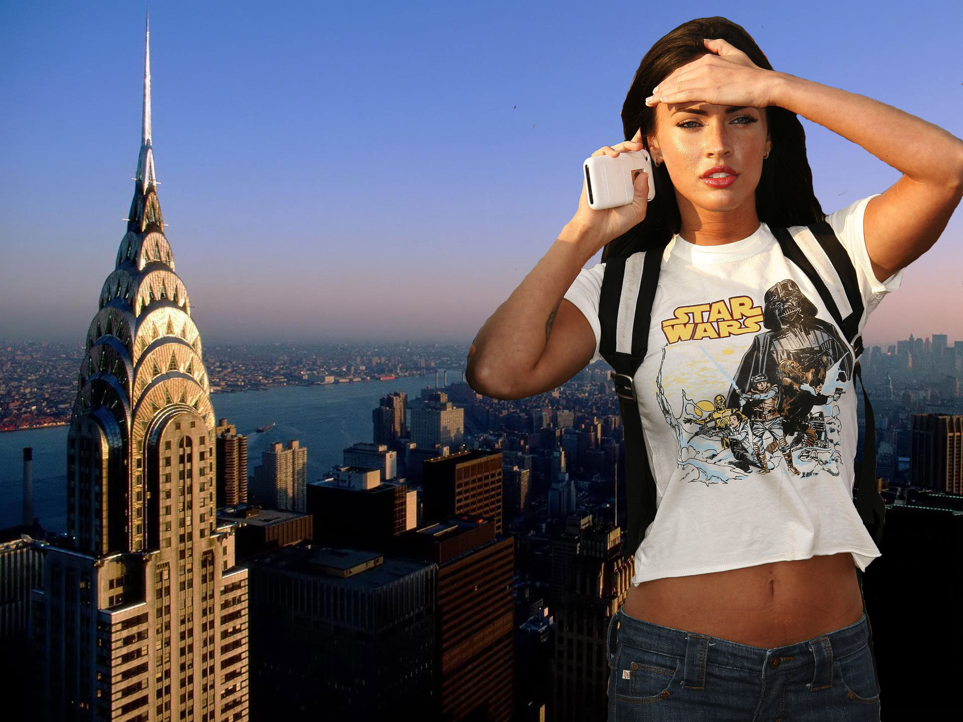 163640 - brunette collage giantess looking_into_distance megan_fox mega_giantess outdoors river sky skyscrapers