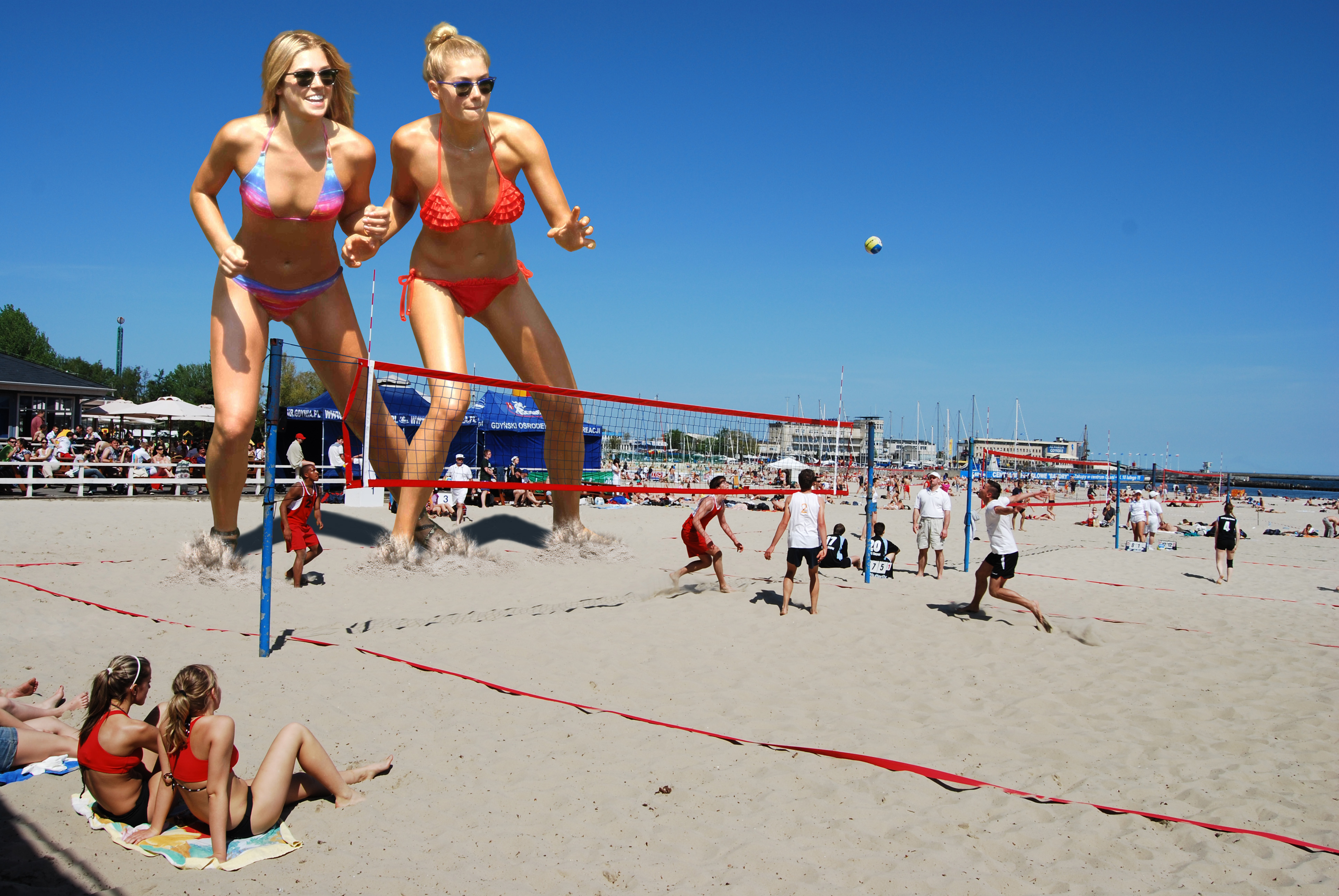 163788 - ashley_hart bikinis blonde collage giantess jessica_hart sand sky small_men sunglasses viewers volleyball wonderslug