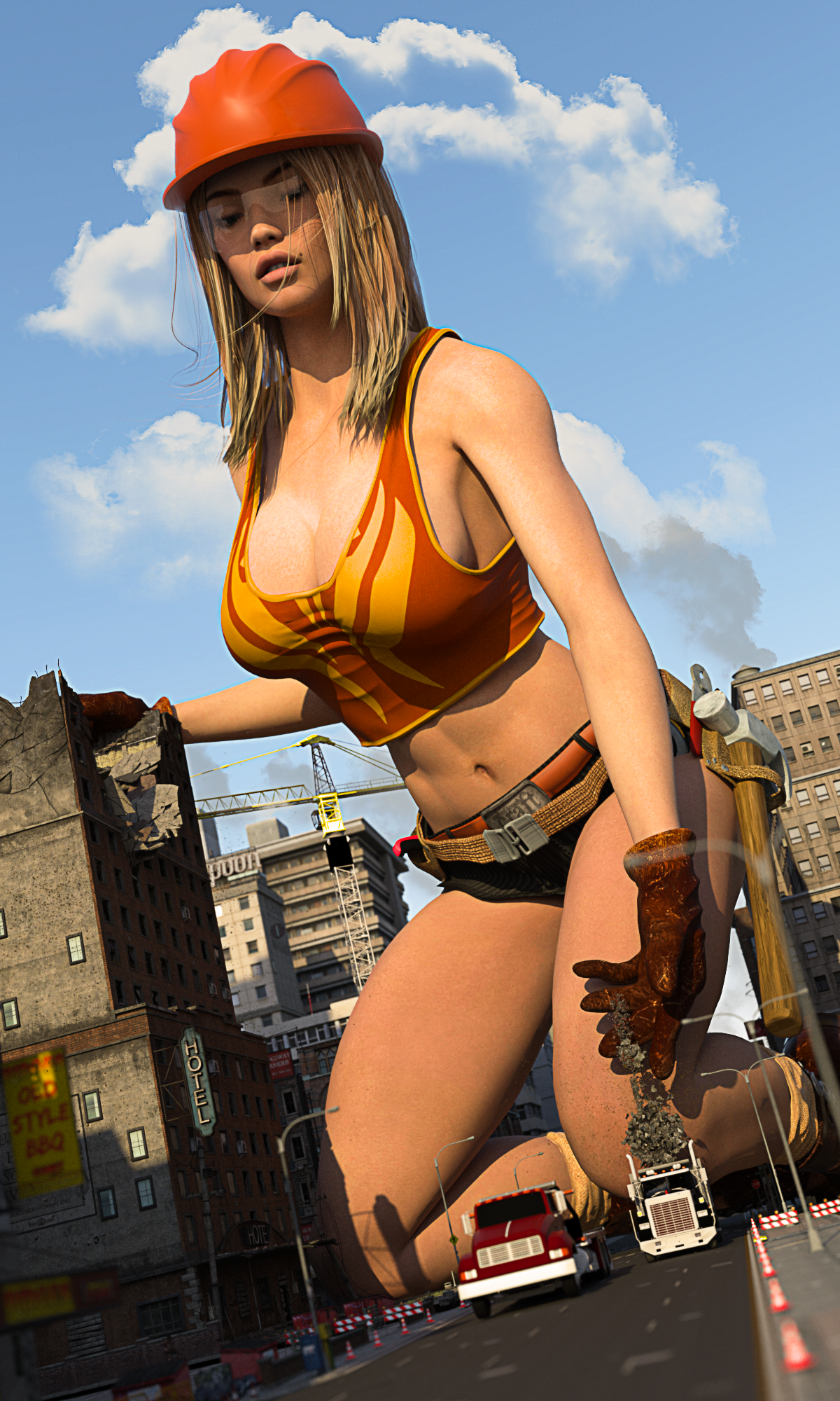162815 - buildings building_demolition city cleavage clouds construction demolition giantess hard_hat low_angle mike973 poser safety_glasses sky street trucks