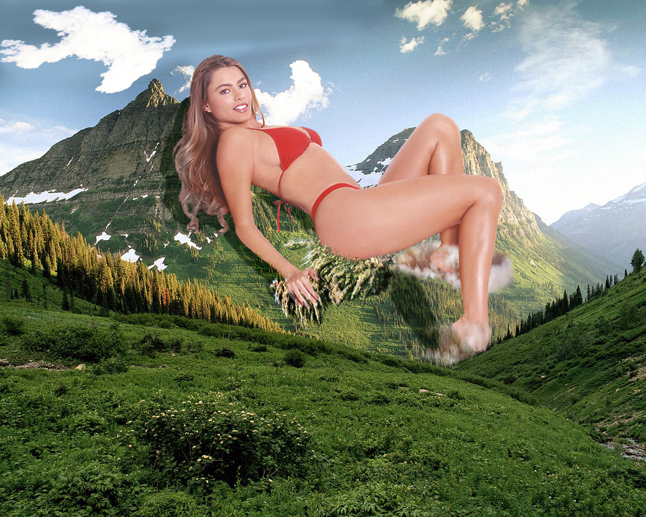 164321 - collage field giantess legs looking_at_viewer mountain outdoor sky swimsuit trees wonderslug