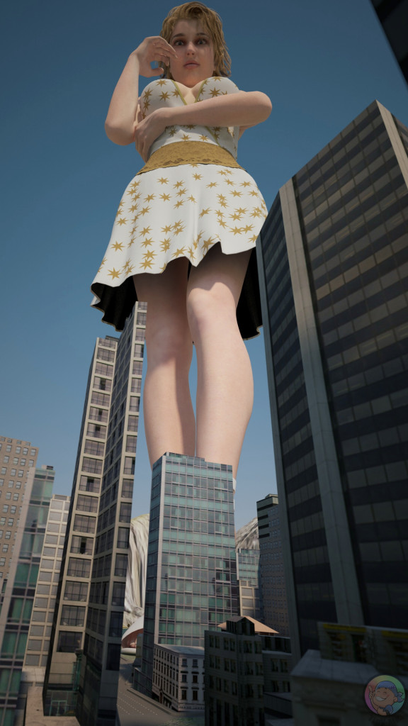 164793 - buildings city cleavage dress emilia_greyheart giantess looking_at_viewer looking_down low_angle mk_cuf poser short_hair skyscrapers tiny_mk