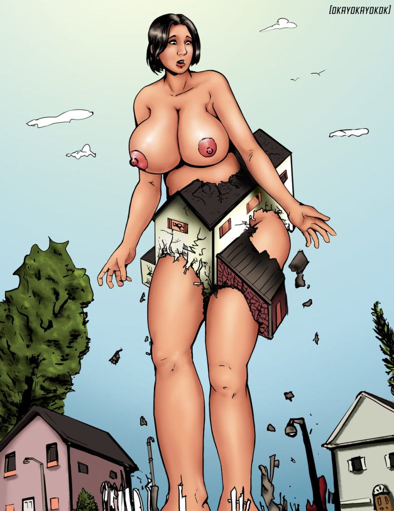 165235 - breasts color destruction drawing giantess growth houses low_angle point_of_view sky