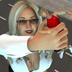 161874 - blonde boomgts city cleavage downward_angle giantess glasses handheld held_up kidnapped looking_at_victim poser small_man street
