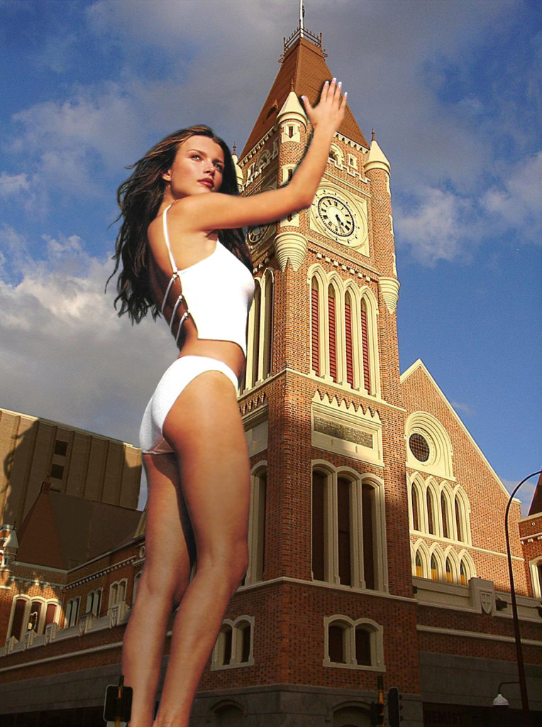 165608 -  brunette building clock_tower collage giantess legs low_angle sky standing wonderslug