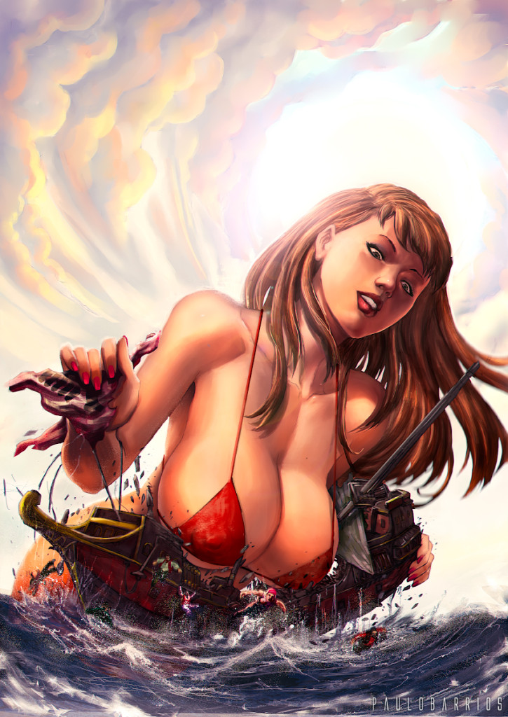 165947 - breasts brunette cleavage clouds color destruction drawing giantess looking_at_victims ocean paulobarrios pirates sailors sea ship sky