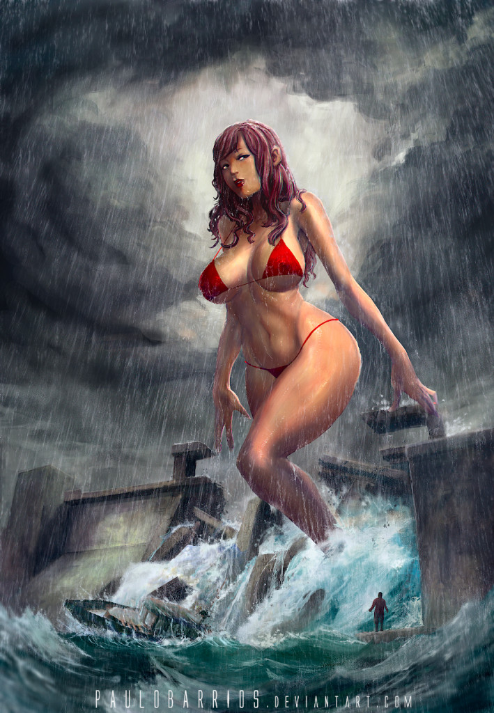 165948 - brunette cleavage color dam destruction drawing giantess ocean paulobarrios rain raining sea ship small_man swimsuit