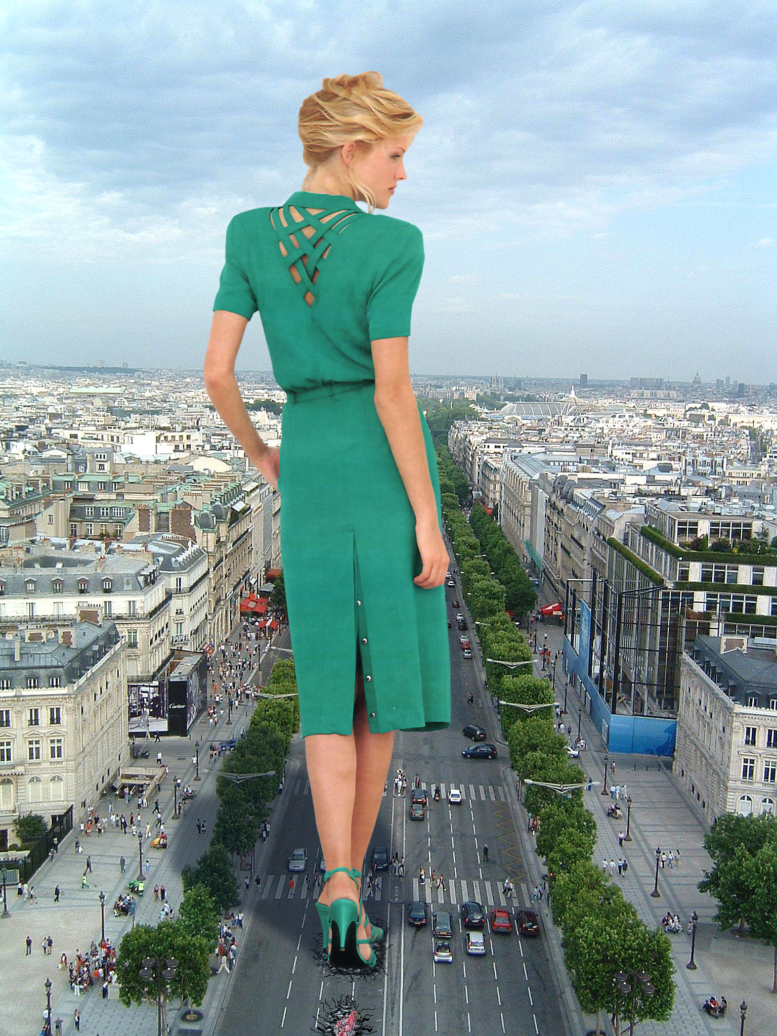 167152 - behind_view blonde cars city collage crushed_cars dress giantess green_dress high_heels sky street wonderslug