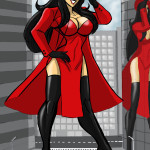 167783 - boots buildings cape city cleavage color drawing giantess giant_girl gloves hat helicopter johnnyharadrim long_hair red reflection sky street