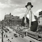 162140 - 1950s buildings charisma_carpenter city clothed collage giantess giantesscity hat high_heels kneeling monochrome small_people smile street