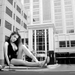 165579 - brunette building car cleavage collage giantess looking_at_viewer monochrome sitting street wonderslug