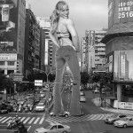 171319 - back blonde buildings cars city collage crushed_car giantess looking_at_viewer monochrome smile street traffic wonderslug