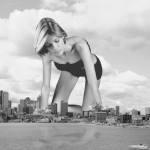 171897 - ana_hickmann boat city collage crawling destruction mega_giantess monochrome reflection wonderslug
