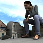19413 - 90ft black_hair blouse blue_nail_polish car classical clothed feet flip-flops giantess glasses house human jeans long_hair poser