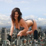 78351 - airplanes barefoot breastheld brunette city city_destruction cleavage crawling crush denise_milani destruction giantess hands jets kneeling large_breasts long_hair looking_dow