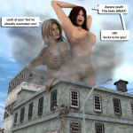 168328 - blonde breasts brunette building_destruction city giantess growth low_angle nude plusi poser sky story