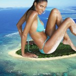 174900 - airplane barefoot collage ebony island jeanene_fox looking_at_viewer lowerrider mega_giantess ocean sitting swimsuit
