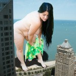 180684 - bbw black_hair collage giantess long_hair looking_down nude outdoors towel