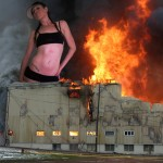 181776 - ball_cap belly_button_ring building collage destruction fire giantess hat looking_at_viewer unknown_artist warehouse