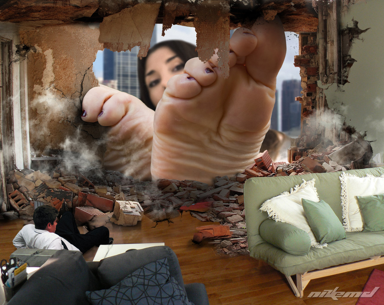 156406 - apartment barefoot collage damage destruction giantess hole looking_at_viewer looking_inside man nikemd pedicure sofa soles