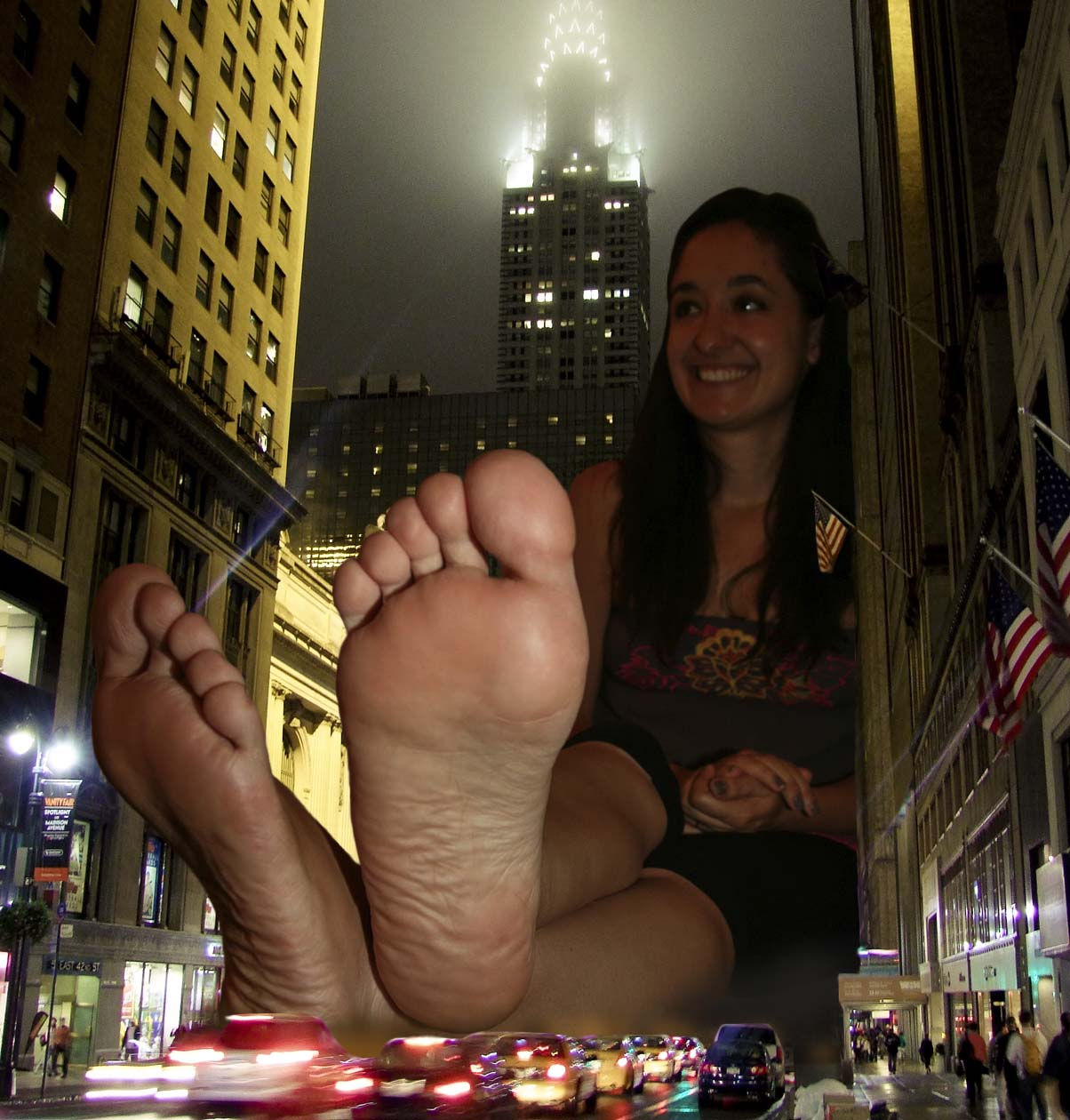 156964 - barefoot brunette city collage giantess sitting smiling