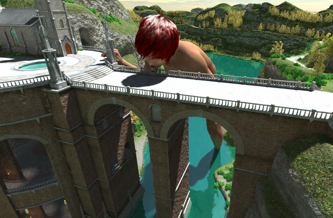 26 - giantess kiss kissing man mega_giantess nude poser red_hair short_hair shrunken_man shrunken_men virtual
