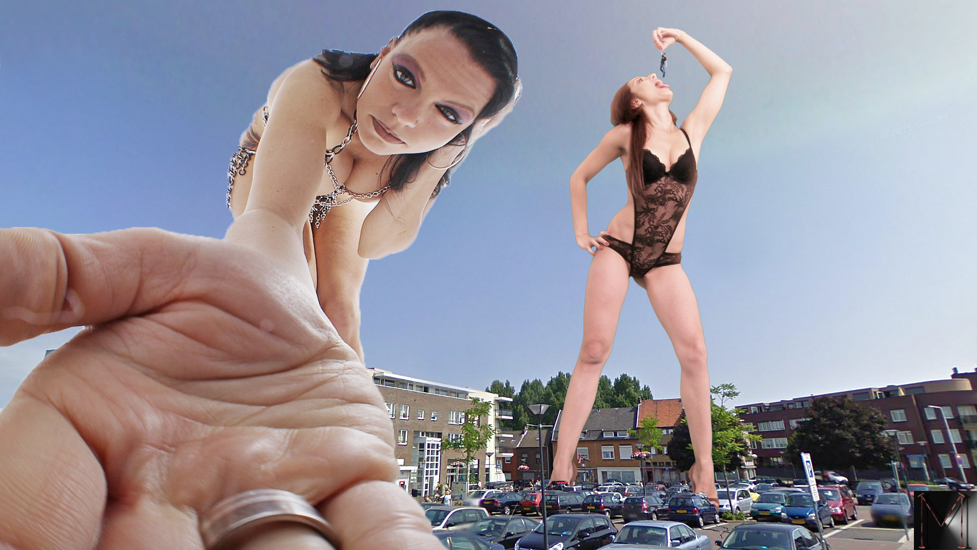 160528 - between_fingers buildings cleavage collage dangle giantess hand looking_at_victim marcrtr open_mouth parking_lot point_of_view vore