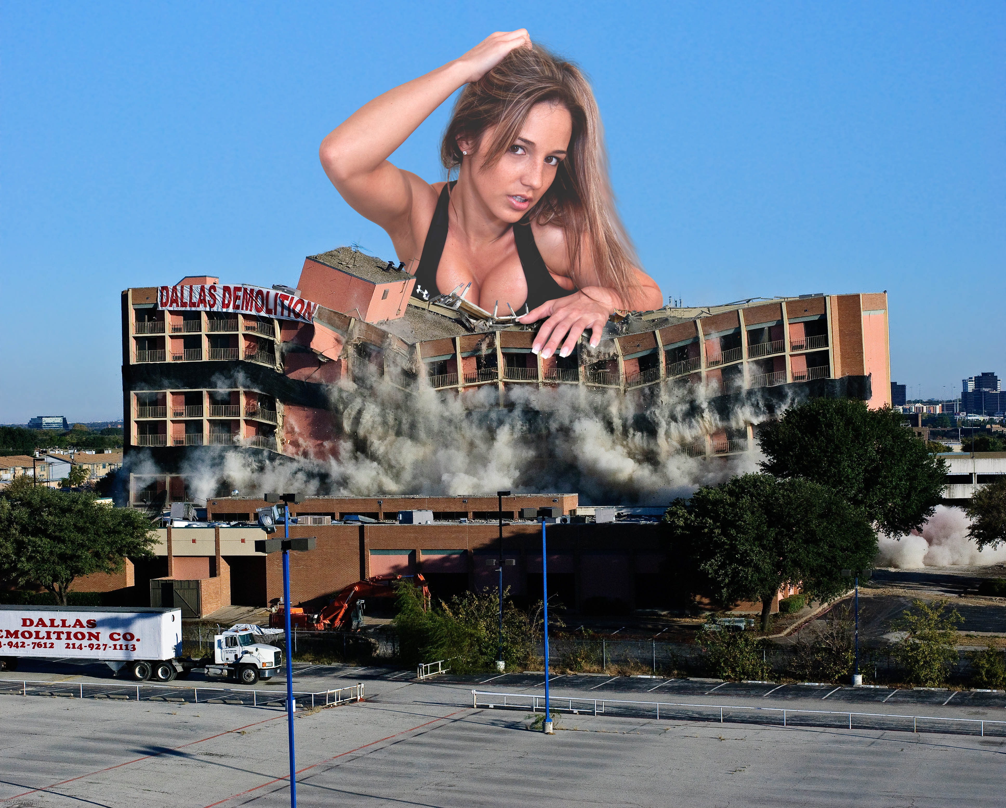 161410 - blonde brown_eyes building cleavage collage destruction giantess looking_at_viewer nikki_sims vandalism wonderslug