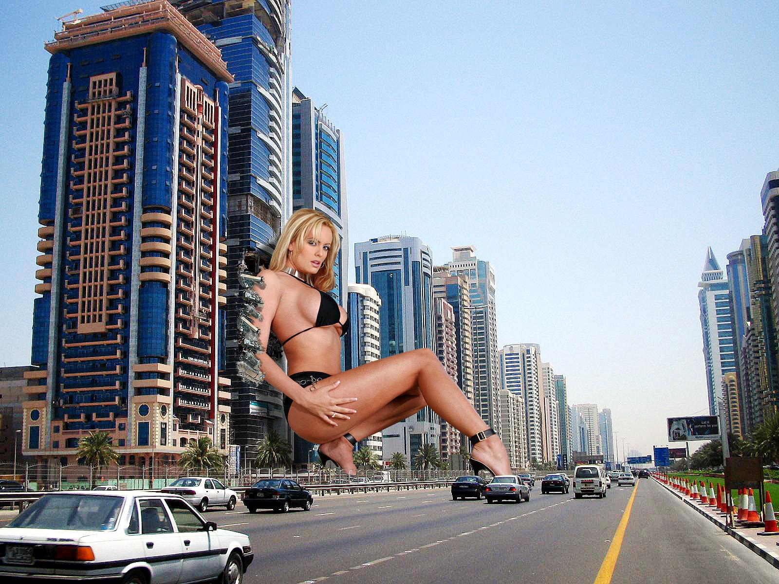 162078 - bikini_top blonde buildings cars city collage destruction giantess high_heels leaning legs looking_at_viewer street wonderslug