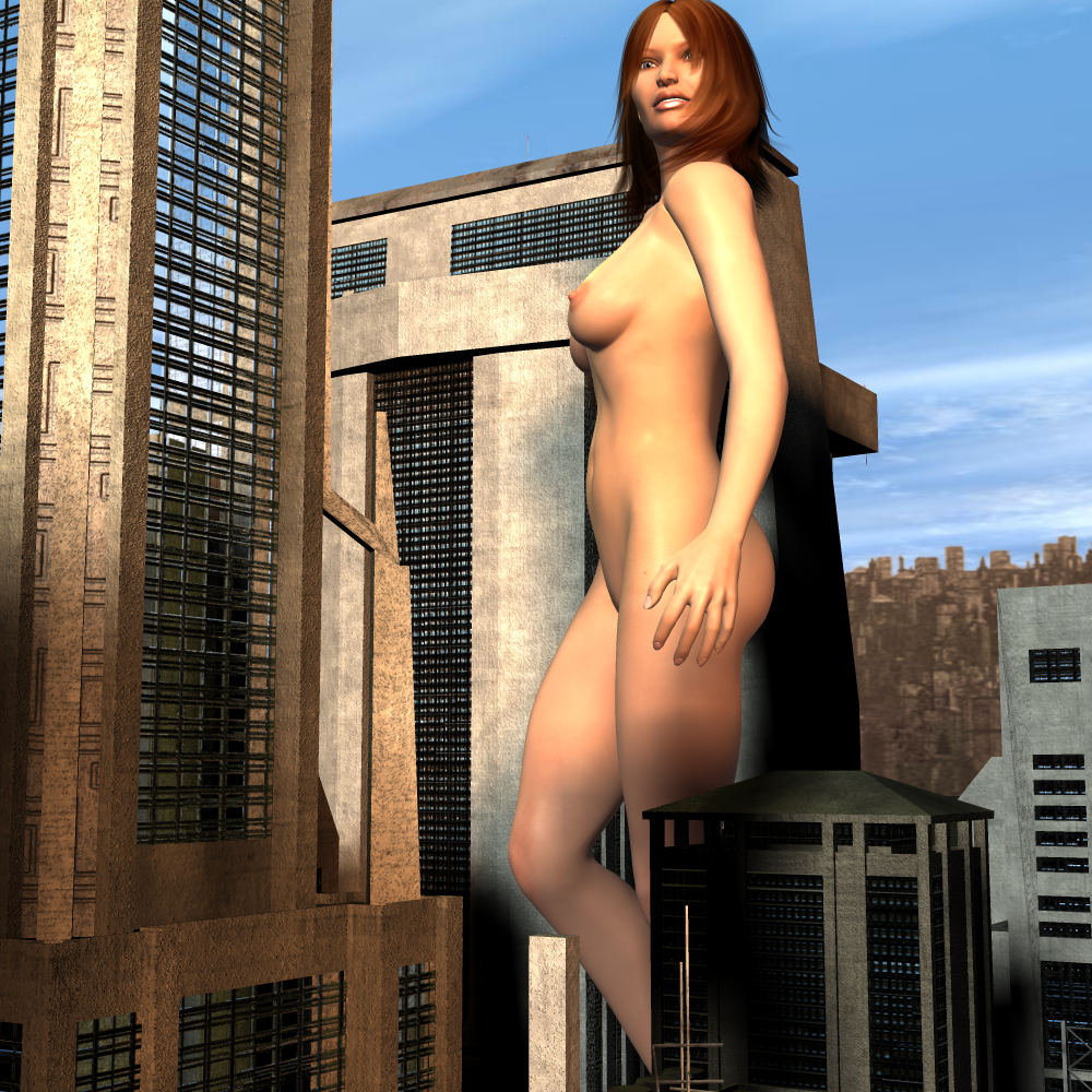162973 - giantess looking_into_distance mega_giantess nude outdoors poser red_hair walking_through_city