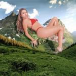 164321 - collage field giantess legs looking_at_viewer mountain outdoor sky swimsuit trees wonderslug