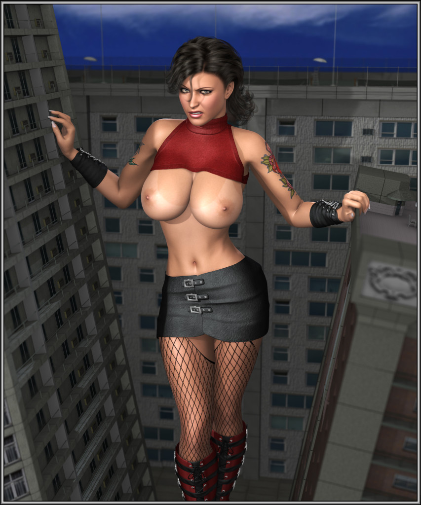 165242 - between_buildings boots breasts brunette darkhound1 elena fishnets giantess looking_at_viewer poser skyscrapers tattoos