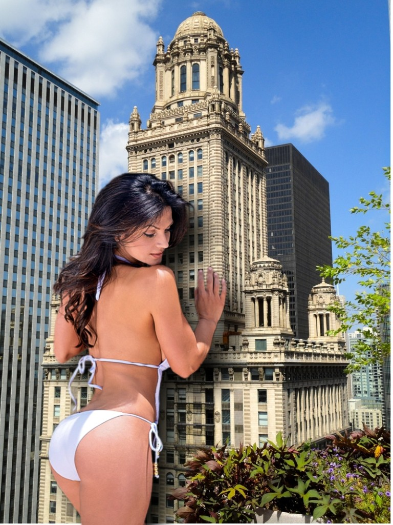 165293 - behind_view brunette city collage denise_milani giantess looking_down pacmanri skyscraper swimsuit
