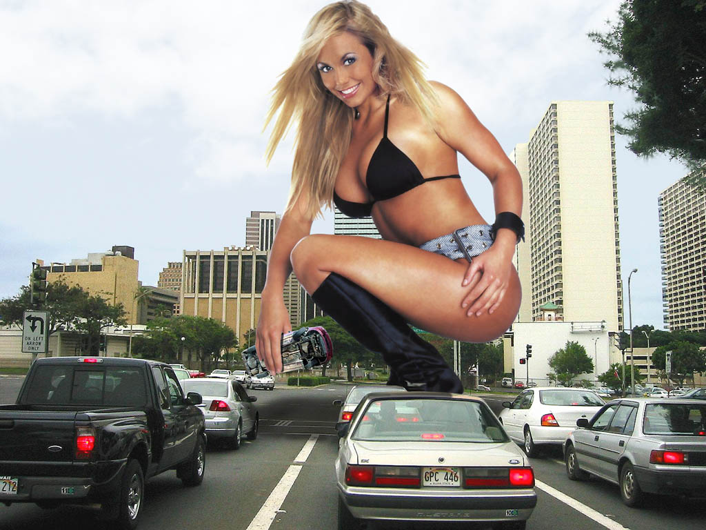 165824 - blonde boots buildings car cars city cleavage collage giantess handheld looking_at_viewer smile squatting stacy_keibler street wonderslug