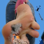 168007 - barefoot clothed collage destruction fire giantess helicopter looking_down low_angle point_of_view sky smoke toes zigi550